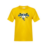 Youth Gold T Shirt-Softball Bats and Plate Design