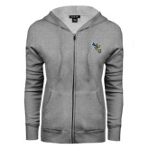 ENZA Ladies Grey Fleece Full Zip Hoodie-CU with Yellow Jacket