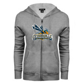 ENZA Ladies Grey Fleece Full Zip Hoodie-Official Logo Distressed