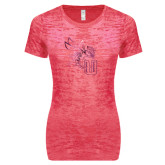 Next Level Ladies Junior Fit Fuchsia Burnout Tee-Yellow Jacket Foil