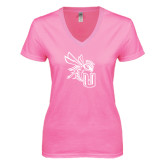 Next Level Ladies Junior Fit Deep V Pink Tee-CU with Yellow Jacket