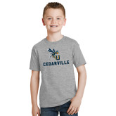 Youth Grey T-Shirt-CU Cedarville with Yellow Jacket