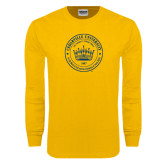 Gold Long Sleeve T Shirt-Cedarville University Seal
