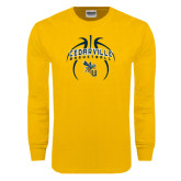 Gold Long Sleeve T Shirt-Basketball In Ball Design