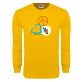 Gold Long Sleeve T Shirt-Peace, Love, and Volleyball Design