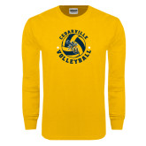 Gold Long Sleeve T Shirt-Volleyball Stars Design
