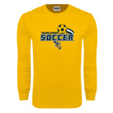 Gold Long Sleeve T Shirt-Soccer Swoosh Design