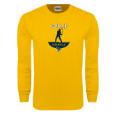 Gold Long Sleeve T Shirt-Golf Golfer Design