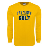 Gold Long Sleeve T Shirt-Tee Off Golf Design