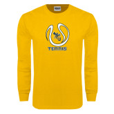 Gold Long Sleeve T Shirt-Tennis Ball Design
