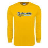 Gold Long Sleeve T Shirt-Softball Design