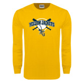 Gold Long Sleeve T Shirt-Softball Bats and Plate Design