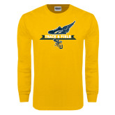 Gold Long Sleeve T Shirt-Track and Field Side Shoe Design