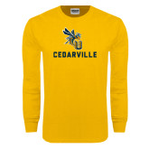 Gold Long Sleeve T Shirt-CU Cedarville with Yellow Jacket