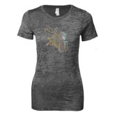 Next Level Ladies Junior Fit Dark Grey Burnout Tee-Yellow Jacket Foil