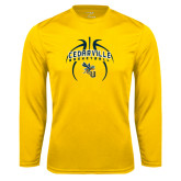 Performance Gold Longsleeve Shirt-Basketball In Ball Design