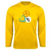 Syntrel Performance Gold Longsleeve Shirt-Peace, Love, and Volleyball Design
