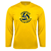 Performance Gold Longsleeve Shirt-Volleyball Stars Design