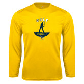 Performance Gold Longsleeve Shirt-Golf Golfer Design
