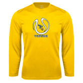 Performance Gold Longsleeve Shirt-Tennis Ball Design