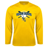 Performance Gold Longsleeve Shirt-Softball Bats and Plate Design