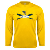 Performance Gold Longsleeve Shirt-Baseball Bats Design