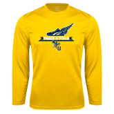 Syntrel Performance Gold Longsleeve Shirt-Track and Field Side Shoe Design