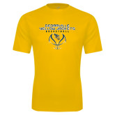 Performance Gold Tee-Basketball Stacked Design