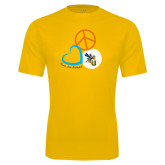 Syntrel Performance Gold Tee-Peace, Love, and Volleyball Design