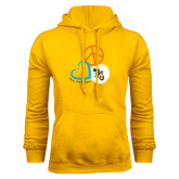 Gold Fleece Hoodie-Peace, Love, and Volleyball Design