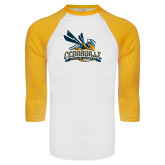 White/Gold Raglan Baseball T-Shirt-Official Logo Distressed