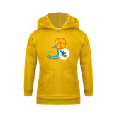 Youth Gold Fleece Hoodie-Peace, Love, and Volleyball Design