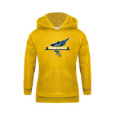 Youth Gold Fleece Hoodie-Track and Field Side Shoe Design