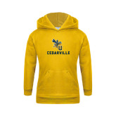 Youth Gold Fleece Hoodie-CU Cedarville with Yellow Jacket