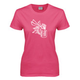 Ladies Fuchsia T Shirt-CU with Yellow Jacket