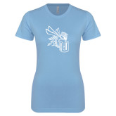 Ladies SoftStyle Junior Fitted Light Blue Tee-CU with Yellow Jacket