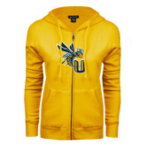 ENZA Ladies Gold Fleece Full Zip Hoodie-CU with Yellow Jacket