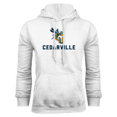 White Fleece Hoodie-CU Cedarville with Yellow Jacket