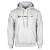 White Fleece Hoodie-Cedarville University Flat