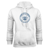 White Fleece Hoodie-Cedarville University Seal