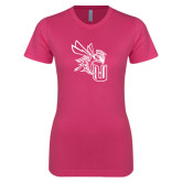 Ladies SoftStyle Junior Fitted Fuchsia Tee-CU with Yellow Jacket
