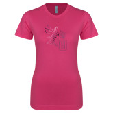 Ladies SoftStyle Junior Fitted Fuchsia Tee-Yellow Jacket Foil