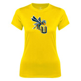 Ladies Syntrel Performance Gold Tee-CU with Yellow Jacket