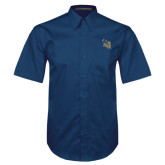 Navy Twill Button Down Short Sleeve-CU with Yellow Jacket