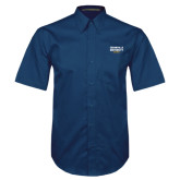 Navy Twill Button Down Short Sleeve-Cedarville University EST. 1887