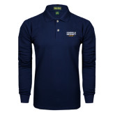 Navy Long Sleeve Polo-Cedarville University EST. 1887