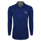 Ladies Navy Twill Button Down Long Sleeve-CU with Yellow Jacket