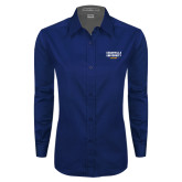 Ladies Navy Twill Button Down Long Sleeve-Cedarville University EST. 1887
