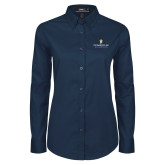 Ladies Navy Twill Button Down Long Sleeve-Cedarville University