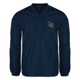 V Neck Navy Raglan Windshirt-CU with Yellow Jacket